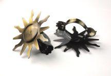 Dekorcsipesz (függönyösszekötő) - óarany színű Nap (2 db/cs.)