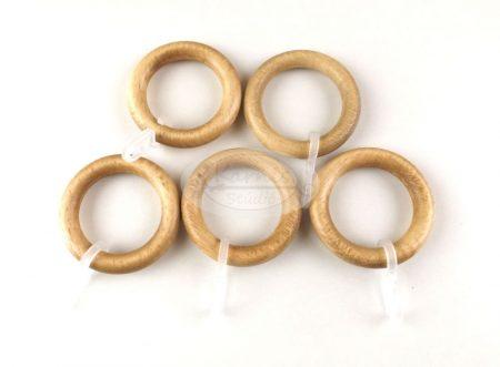 Fa függönykarika ráncszedő kampóval 10 db/cs. - világos tölgy