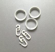 16/19 Fehér színű fém függönykarika szilikon betéttel 10 db / cs. (csöndesgyűrű, néma függönykarika)