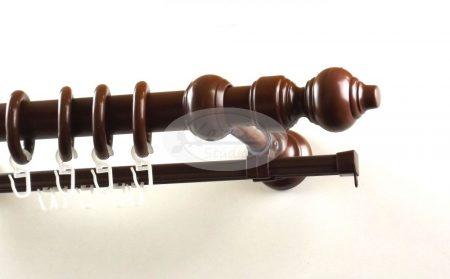 28 mm-es műanyag rúdkarnis szett U-sínnel barna színben - www.karnisstudio.hu