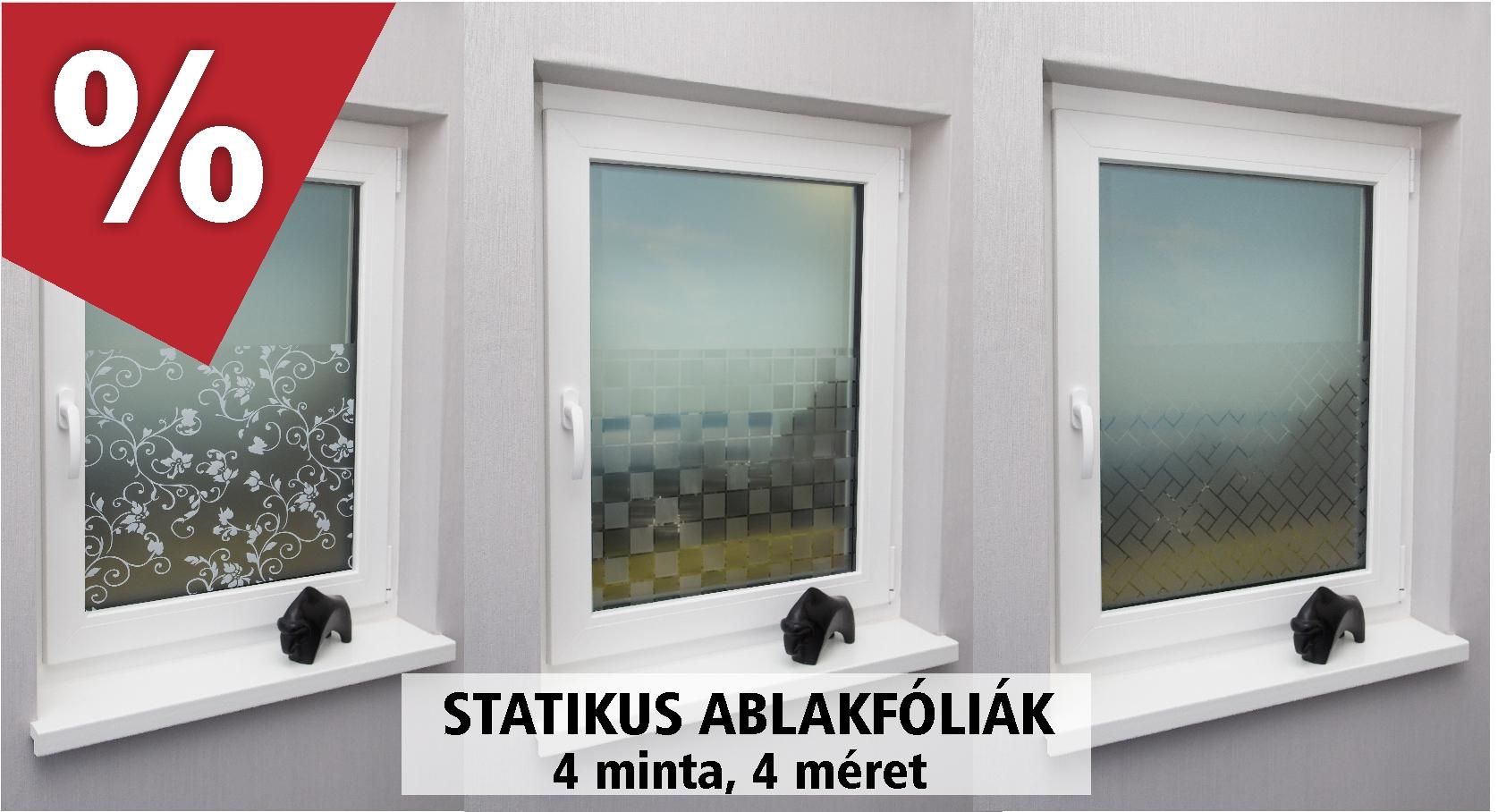 Statikus ablakfóliák 4 mintával, 4 méretben - www.karnisstudio.hu