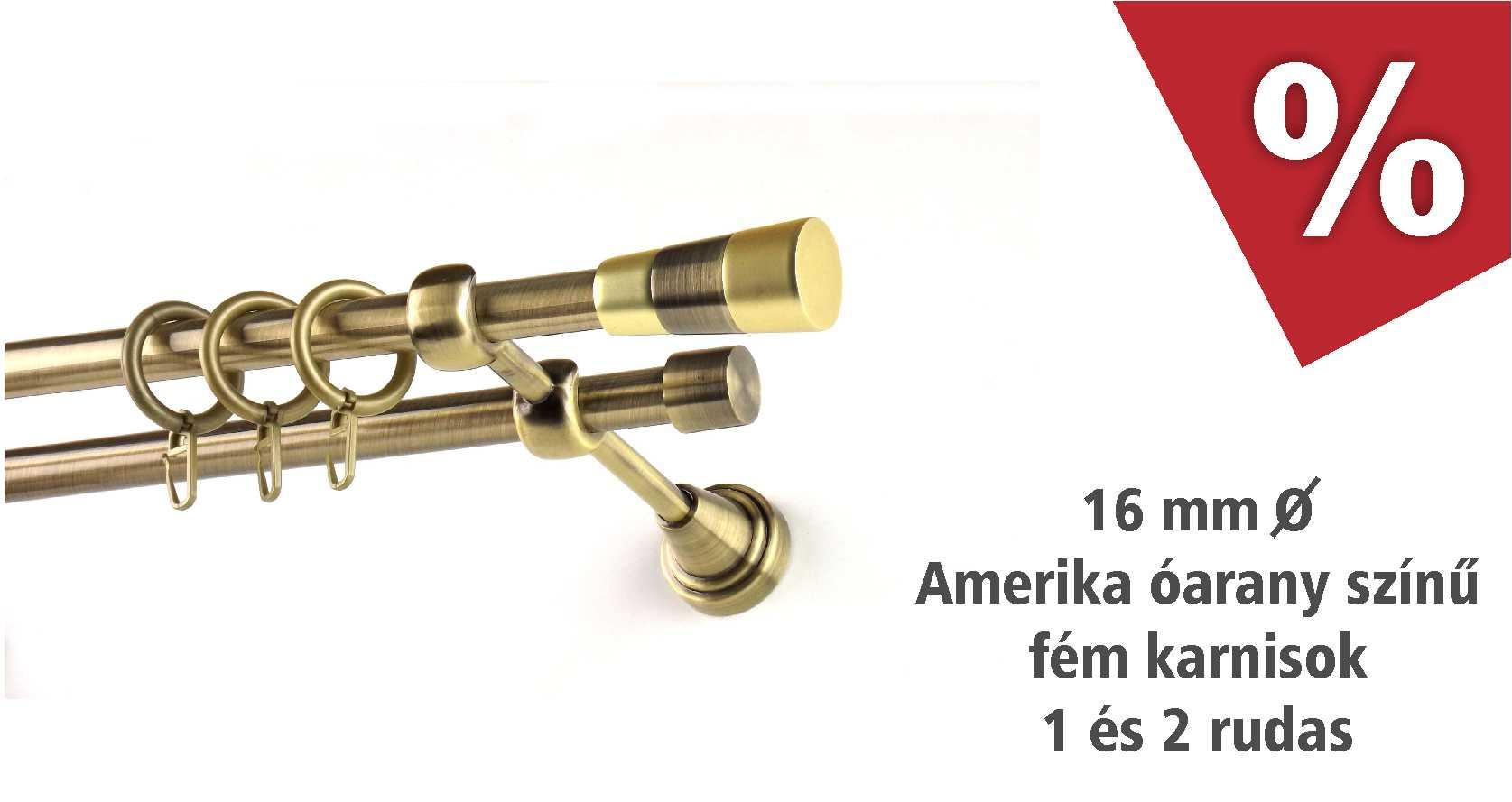 Amerika óarany színű 16 mm átmérőjű fém karnis szettek - szeptemberben akciós áron