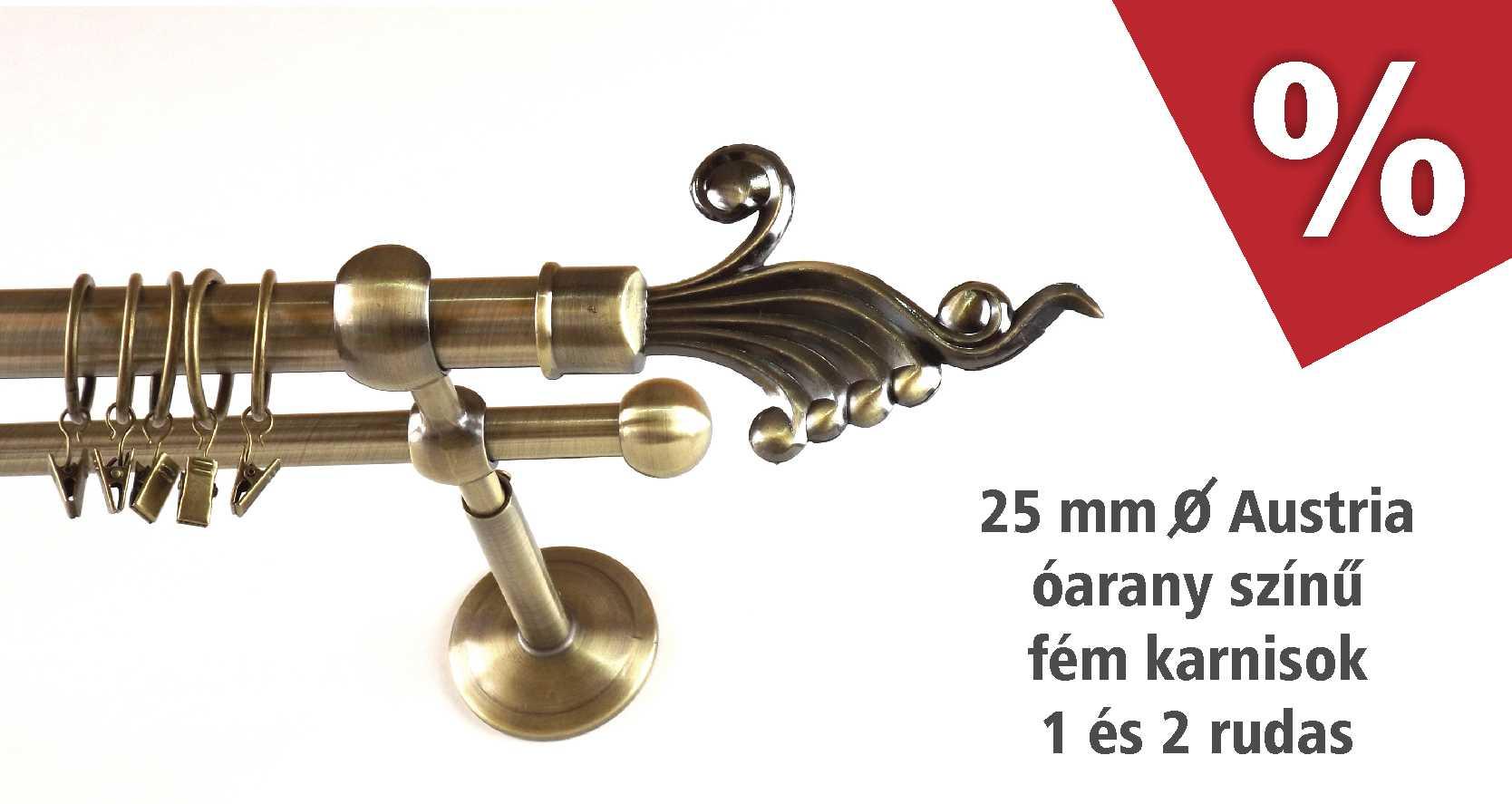 Austria óarany színű 1 és 2 rudas fém karnis szettek akciós áron - www.karnisstudio.hu