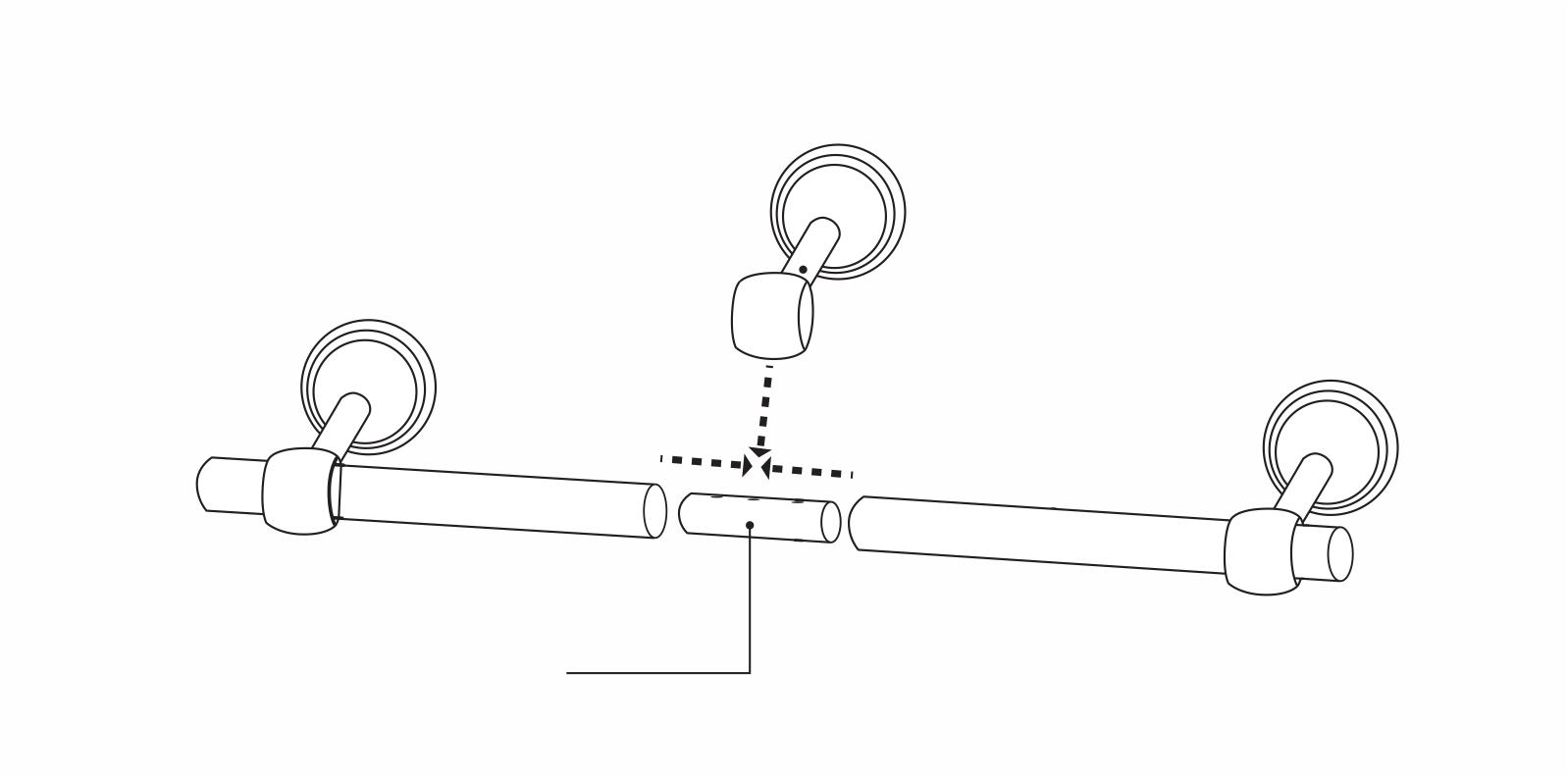 Csőtoldó elem használata a karnisrudak összeillesztésénél