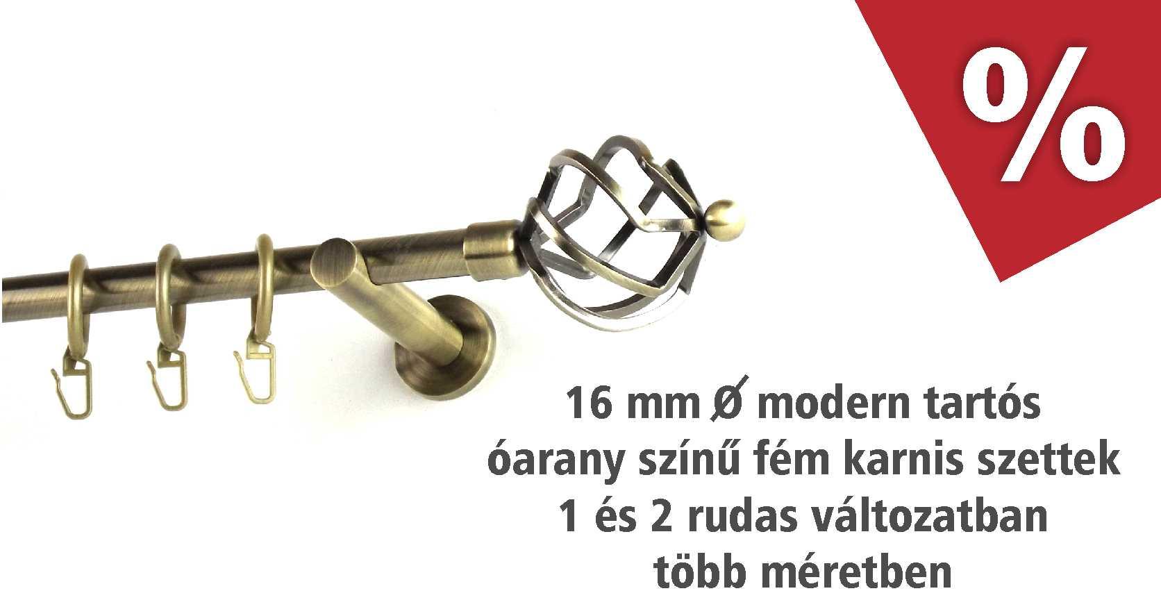 Óarany színű 16 mm vastag modern tartós fém karnis szettek novemberben kedvezményes áron - www.karnisstudio.hu