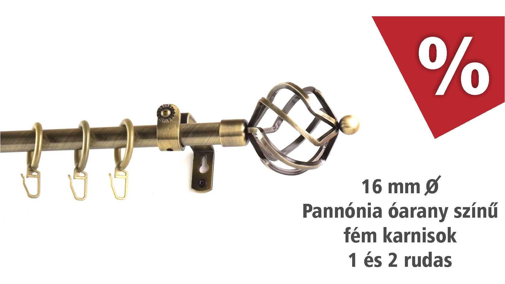 Pannónia óarany színű fém karnisok 1 és 2 rudas - májusban kedvezményes áron - www.karnisstudio.hu