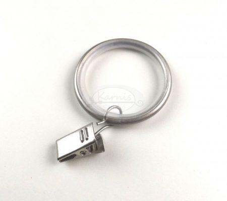 Nikkel-matt színű szilikon betétes fém függönykarika csipesszel 10 db/cs.