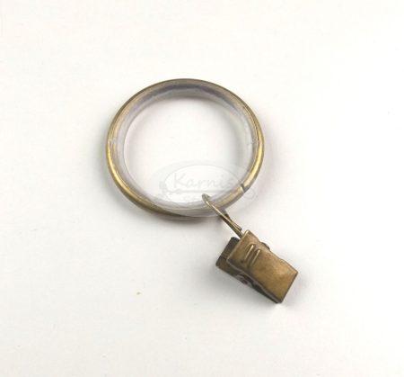 19/25 Óarany színű szilikon betétes fém függönykarika csipesszel 10 db/cs.