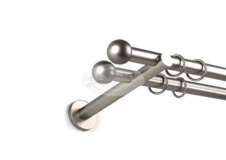 Béta nikkel-matt színű 2 rudas fém karnis szett 19 mm