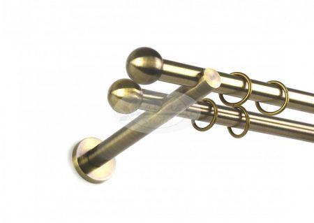 Béta óarany színű 2 rudas fém karnis szett 19 mm