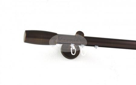 Bronz színű belsősínes 1 rudas fém karnis szett Cubus véggel