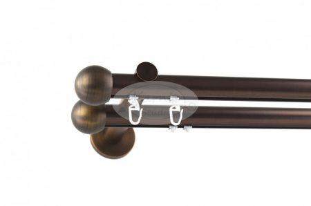 Bronz színű belsősínes 2 rudas fém karnis szett gömb véggel