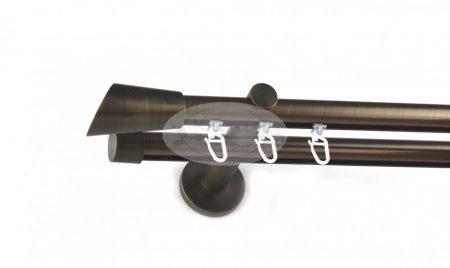 Brüniert belsősínes 2 rudas fém karnis szett ferdén vágott véggel