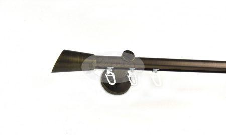 Brüniert belsősínes 1 rudas fém karnis szett ferdén vágott véggel