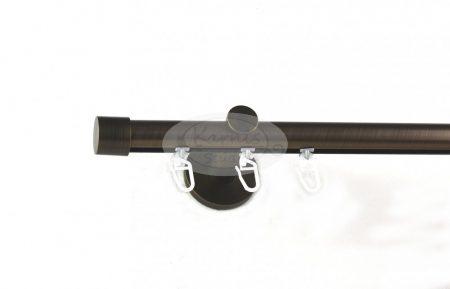Brüniert belsősínes 1 rudas fém karnis szett kupak véggel
