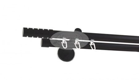 Fekete színű belsősínes 2 rudas fém karnis szett csíkos henger véggel