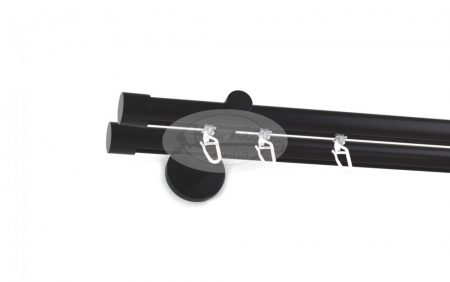 Fekete színű belsősínes 2 rudas fém karnis szett kupak véggel