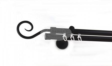 Fekete színű belsősínes 2 rudas fém karnis szett spirál véggel