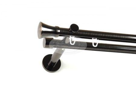 Gamma (Hellas) belsősínes 2 rudas onix színű fém karnis szett