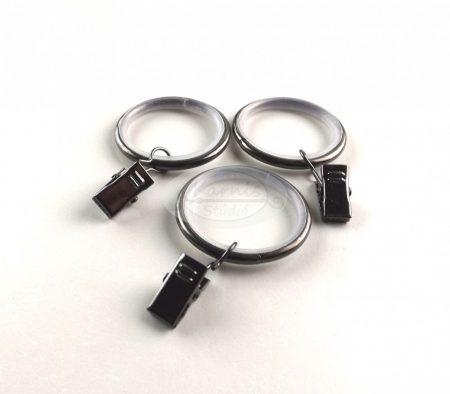 Onix színű szilikon betétes fém függönykarika csipesszel 10 db/cs.