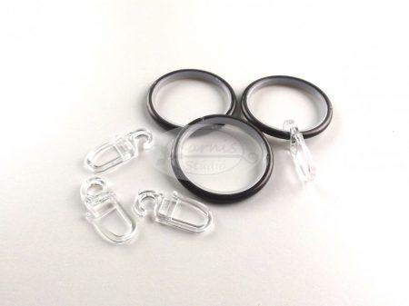 Onix színű szilikon betétes fém függönykarika ráncszedő kampóval 10 db/cs.