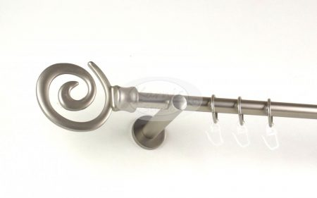 Houston nikkel-matt színű 1 rudas fém függönykarnis szett modern tartókkal