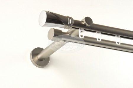 Kappa (Hellas) belsősínes 2 rudas nikkel-matt színű fém karnis szett