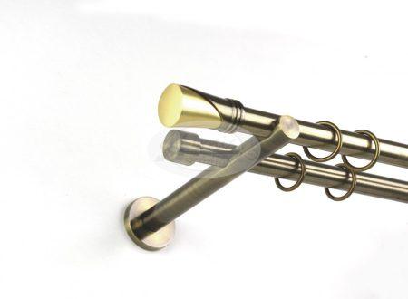 Kappa óarany színű 2 rudas fém karnis szett 19 mm