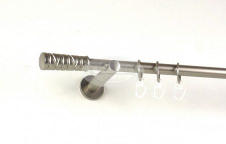 Miami nikkel-matt színű 1 rudas fém függönykarnis szett modern tartókkal