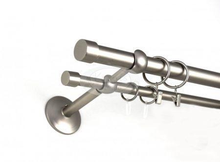 Murau nikkel-matt színű  2 rudas fém karnis szett