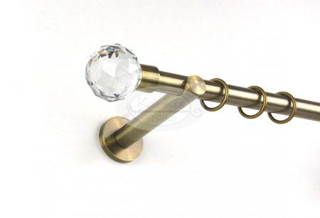 Omega Crystal óarany színű 1 rudas fém karnis szett 19 mm