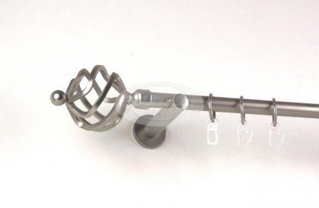 Szeged nikkel-matt színű 1 rudas fém függönykarnis szett modern tartókkal