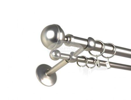 Villach nikkel-matt színű  2 rudas fém karnis szett - Karnis Stúdió webáruház