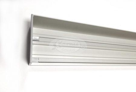 Easy Line ezüst színű 2 soros előlapos mennyezeti alumínium sín - 360 cm