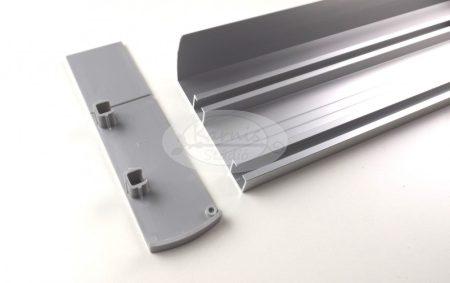 2 soros előlapos ezüst színű alumínium sín tartozékokkal 3 méter feletti hosszban