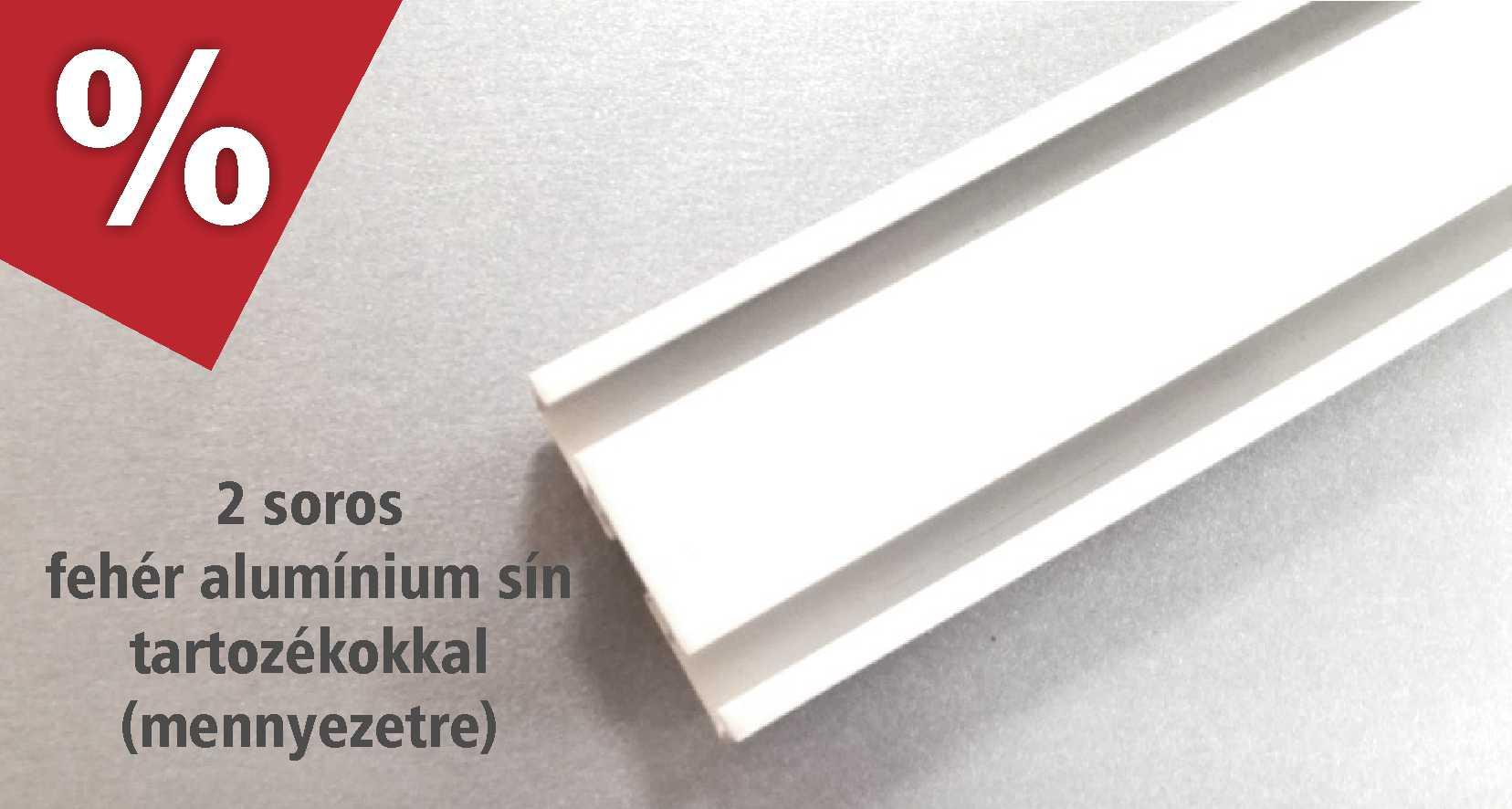 Fehér színű 2 soros alumínium függönysínek -  több méretben - akciós áron januárban - karnisstudio.hu