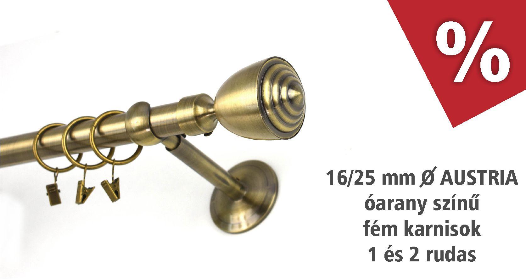 Austria óarany színű fém karnis szettek - 1 és 2 rudas - több méretben - akciós áron februárban - www.karnisstudio.hu