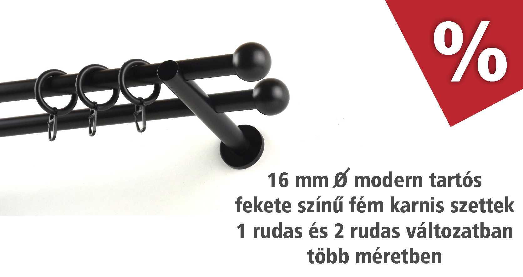 Fekete színű modern tartós fém karnis szettek több méretben akciós áron - www.karnisstudio.hu