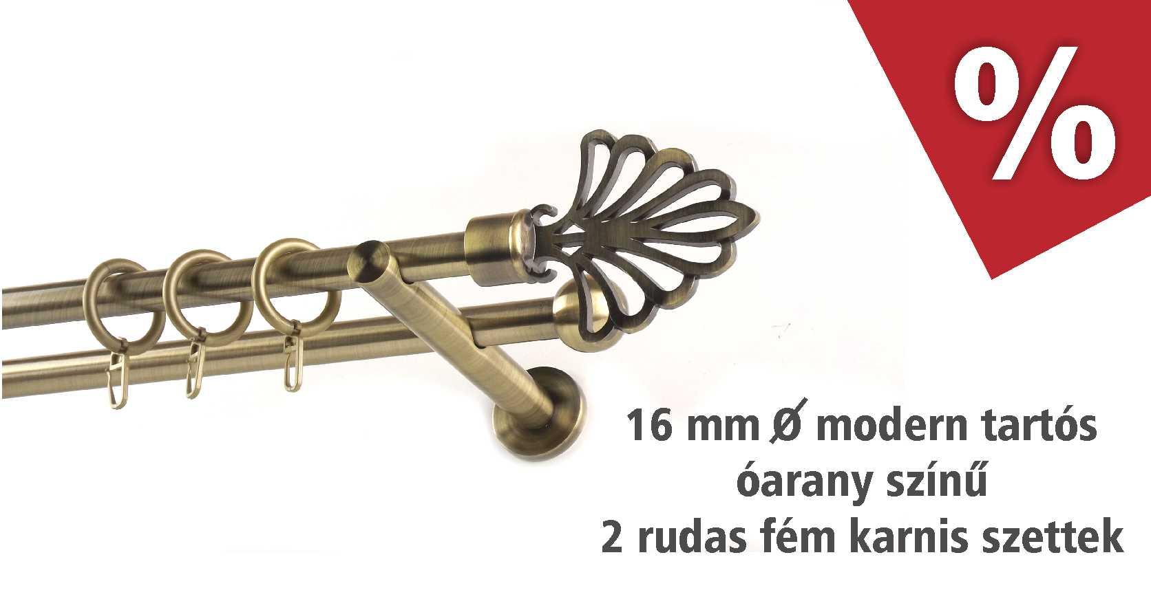 Óarany színű fém karnis szettek modern tartókkal, 16 mm átmérővel több méretben, szeptemberben akciós áron - www.karnisstudio.hu