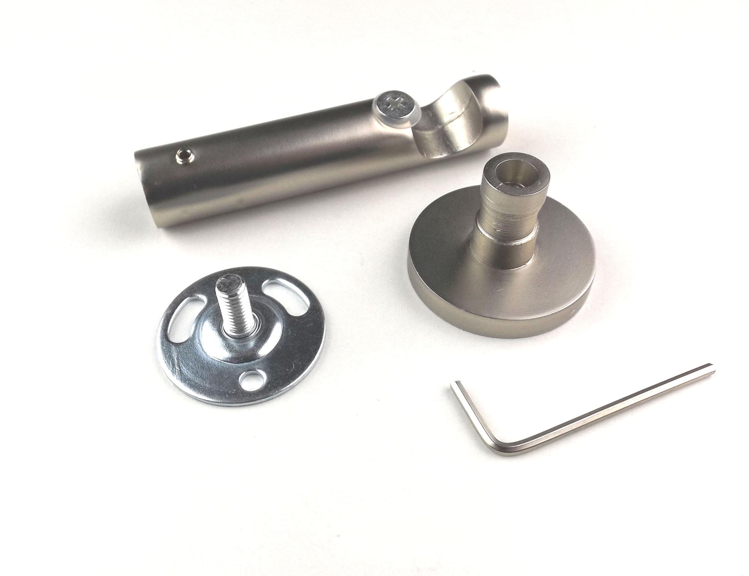 Modern karnistartó konzol 1 rudas 16 mm-es karnishoz nikkel színben - www.karnisstudio.hu